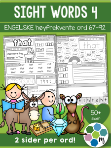Engelsk: Sight words pakke 4: ord 67-92